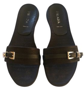 Prada Flats Sandals Black Mules