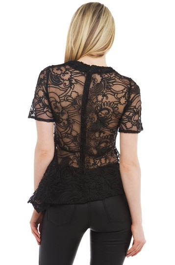 Gracia Black All In The Lace Peplum Top- Top new