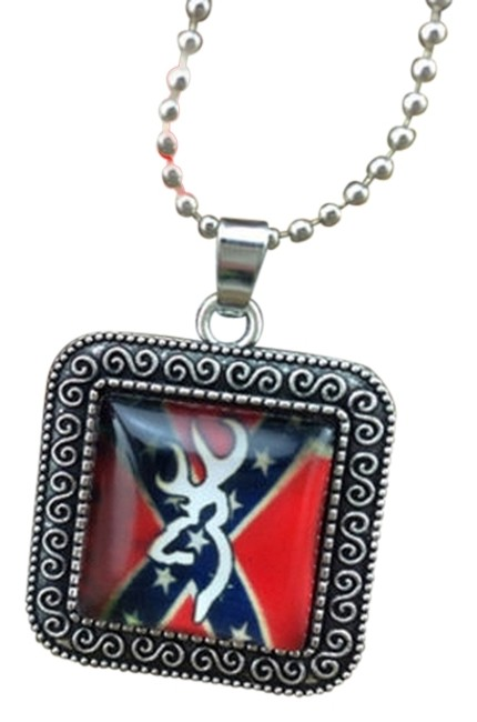 Item - Silver Square Flag Deer Design Photo Glass Dome Handmade Charm Necklace