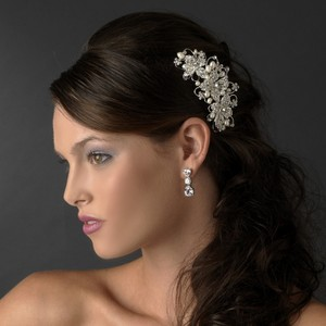 Elegance By Carbonneau Freshwater Pearl And Crystal Floral Bridal Comb