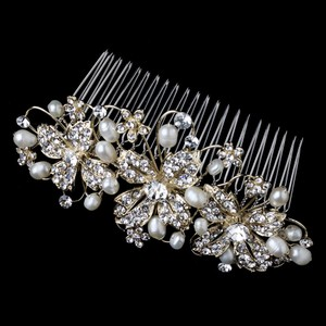 Elegance By Carbonneau Gold Plated Freshwater Pearl Bridal Comb