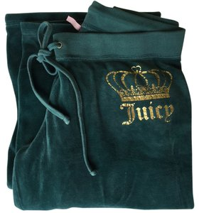 Juicy Couture Lounge Wear Sweat Velour Relaxed Pants Emerald Green