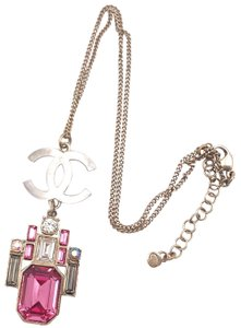 Chanel Chanel Silver CC Gold Pink Geo Crystal Large Pendant Necklace