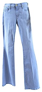 Mother 5 Pocket Stretch Undone Hem Boot Cut Jeans-Light Wash