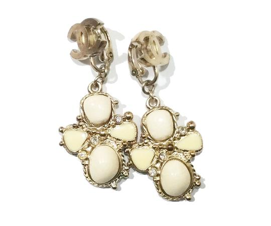 Chanel Authentic Chanel Light Gold CC Ivory Stone Cross Clip on Earrings Image 1