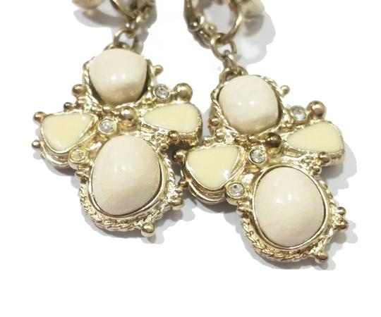 Chanel Authentic Chanel Light Gold CC Ivory Stone Cross Clip on Earrings Image 2