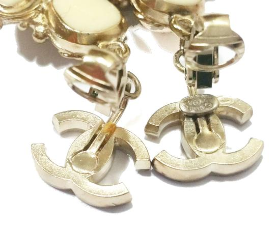 Chanel Authentic Chanel Light Gold CC Ivory Stone Cross Clip on Earrings Image 4