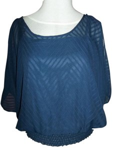 Maurices Boat Neck Banded Bottom Size Small Top Navy Blue