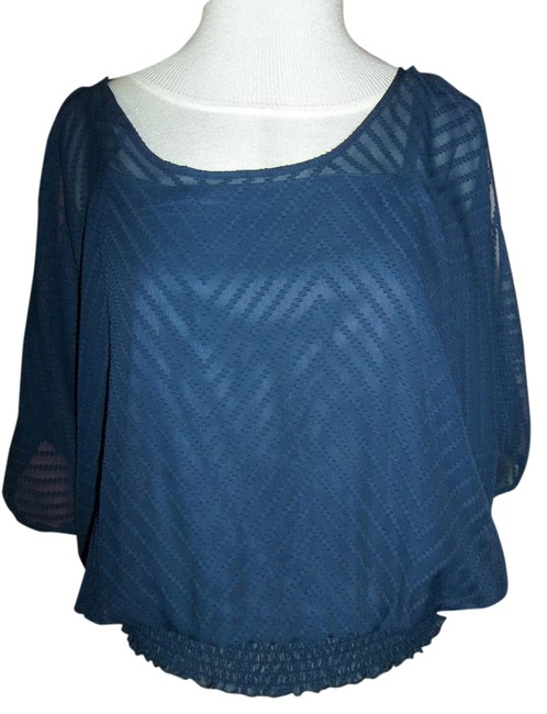 Maurices Boat Neck Banded Bottom Size Small Top Navy Blue Image 0