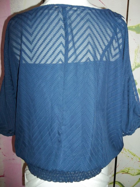 Maurices Boat Neck Banded Bottom Size Small Top Navy Blue Image 3