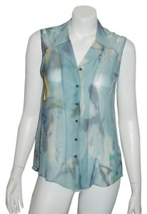 Theory Lavender Silk Top blue multicolor