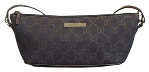 Gucci Canvas Leather Monogram Baguette