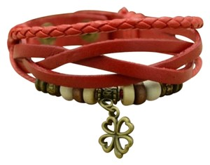 Other Red Leather Lucky Four Leaf Clover Beaded Charm Bracelet