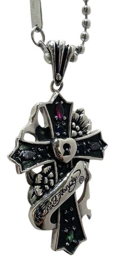 Ed Hardy Stainless Steel Cross, Ribbon, Lock Necklace