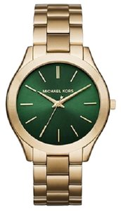 e049f882697c Michael Kors Michael Kors MK3435 Women s Slim Runway Gold tone Green Dial Bracelet  Watch NEW!