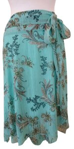B. Moss Paisley Design Gold Lurex Thread Lined Sheer Fabric Overlay Side Bow On Skirt QTeal