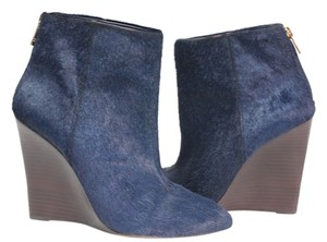 Tory Burch Bootie Boot Winter Fur Fall Navy Blue Boots