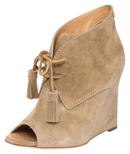 Item - Beige Brown New Women Genuine Leather Suede Peep Toe Wedge Sizes: 8 9 10 11 Boots/Booties Size US 7 Regular (M, B)
