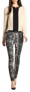Diane von Furstenberg Leather Leather Leggins Skinny Pants Black White