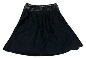 Pink Tartan Silk Wool Mini Skirt Black
