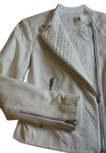 Rag & Bone Antique White Lambskin Leather Jacket