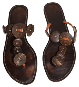 Max Studio Brown with Orange Piping Sandals