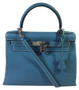 2739a7c20c89 Hermès Clemence Leather Kelly Sellier 28 Satchel in Blue