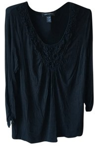 Cable & Gauge V-neck Knit Top Black