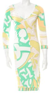 Emilio Pucci V-neck Longsleeve Monogram Print Dress