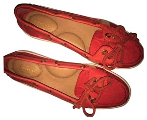 Coach Monogram Boat Loafer Sneaker Red Flats