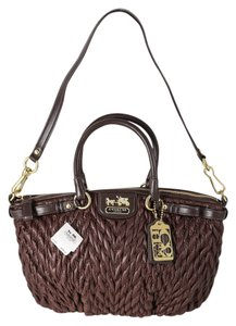 Coach Quilted Madison/sophia Nylon Satchel in Brown