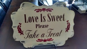 Candy Table Sign With Silver Holder