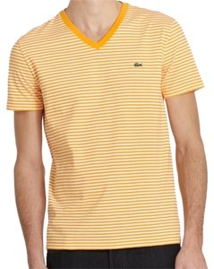 Lacoste Mens Heritage Striped T Shirt Orange