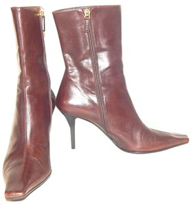 Gucci Ankle Pointed Toe Square Toe Midcalf Leather Brown Boots