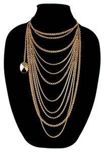 Dior NECKLACE - MULTISTRAND GOLD LAYERED CHAIN LOGO CHOKER CHARM PEARL