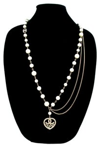 Chanel HEART PEARL NECKLACE - CRYSTAL RHINESTONE CHARM CHAIN PENDANT BELT 09