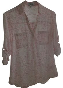 Express Leopard Button Down Shirt White, Pink