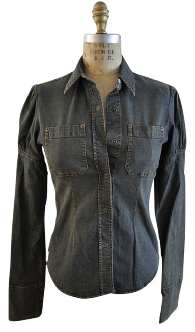 DKNY Stretchy Fitted Casual Button Down Shirt Denim