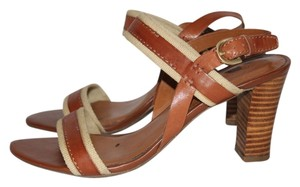 Franco Sarto Saddle Leather and Cream Canvas Sandals