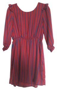 Forever 21 short dress Red with blue stripes on Tradesy