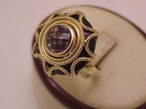 Incredible Works Of Art Antique Art Deco 14k Yellow Gold Amethyst Filigree Ring Italy1930's