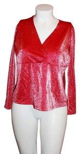 Venezia by Lane Bryant Metallic Longsleeve Top Red Shimmering
