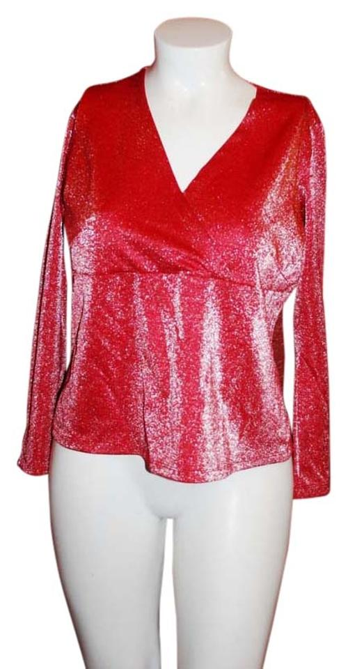 Venezia By Lane Bryant Red Shimmering Jeans Co Blouse Size 16 Xl