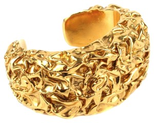 Chanel BRACELET RARE VINTAGE CUFF TEXTURED WIDE GOLD BANGLE 1980s CC CHARM