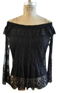 Lia Kes Lace Boho Rocker Top Black
