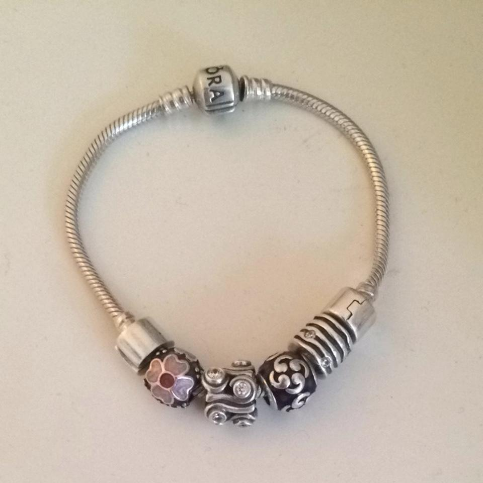 7931b7d37 PANDORA Silver with Pink and Purple Charms Bracelet - Tradesy