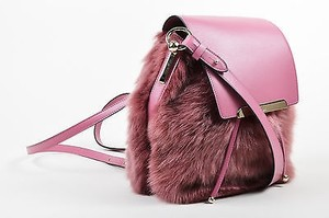 Christian Louboutin Rose Leather Faux Fur Lucky L Bucket Backpack Pink Messenger Bag