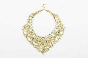 Other Lawrence Vrba Gold Tone Green Rhinestone Crystal Bib Statement Necklace