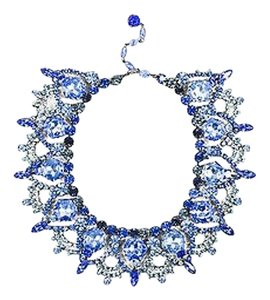 Lawrence Vrba Silver Tone Blue Rhinestone Crystal Bib Statement Necklace