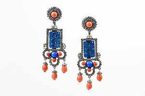 Lawrence Vrba Blue Orange Rhinestone Carved Stone Clip On Statement Earrings